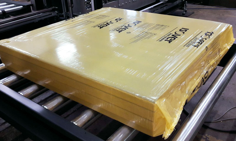 Isover mineral wool plate in stretch hood packaging